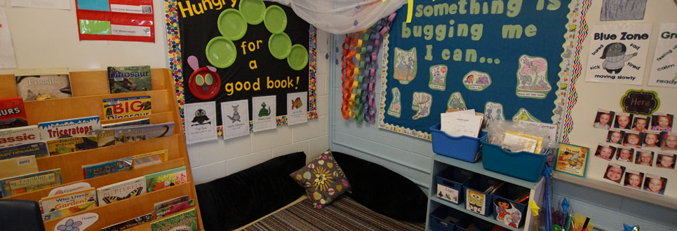 Reading corner at St. Theresa Catholic School.